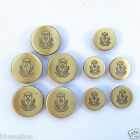 5 x Military style FLAT METAL antique gold colour blazer buttons 15mm & 20mm Q65