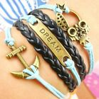New Owl Love Teal Pearl Wings Breaded Leather Charm Bracelet Anklet US SELLER