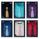 BOYS FORMAL SHIRT & TIE LONG SLEEVE KIDS PROM WEDDING TOP BOXED GIFT SET 1-16 Y