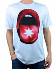 DC. On The Tongue. Mens White / Red Short Sleeve T-Shirt. Sizes: Large, XX-Large