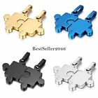 His and Hers Stainless Steel Matching Love Puzzle Piece Couple Pendant Necklaces