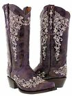 Womens purple leather rhinestones cowgirl western cowboy boots snip corral lane