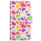 Colorful Love Heart Design PU Leather Flip Case Cover For Samsung Phone