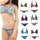 Retro Rattan Printed Lady Gypsy Exotic Paisley Halter Bikini Set Swimsuit S-L