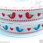 PER metre Berties Bows Christmas ROBIN & HEARTS  ribbon 16mm wide red or blue