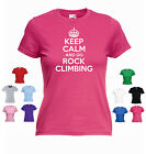'Keep Calm and Go Rock Climbing' Ladies Girls Funny Abseiling T-shirt Tee