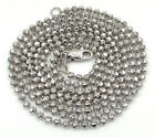 "24-30"" 2mm 10k White Gold Combat Moon Cut Bead Ball Chain Necklace Mens Ladies"