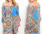 13 -  1X 2X 3X Plus Size Summer Elastic Neckline Babydoll Dress Paisley Blue