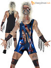 Mens Zombie Wrestler Costume Gory Horror WWF Halloween Fancy Dress Adult Outfit