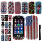 For LG Extravert 2 VN280 DIAMOND BLING CRYSTAL HARD Case Phone Cover + Pen