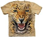 Angry Leopard Adults Wild Animal Face T-Shirt, Select Size S, M, L, XL, 2X, 3X+