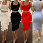 Sexy Lady Sleeveless Bandage Bodycon Two Piece Outfit Party Cocktail Club Dress