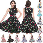 LADIES NEW COTTON VINTAGE 40s 1950s RETRO PIN UP PARTY PROM BELTED EVENING DRESS
