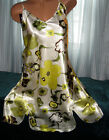 White gr yellow Floral Chemise Short Gown 1X 2X 3X Plus Size Adjustable straps