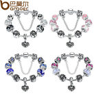 European 925 Silver Bracelet With Heart Charm Murano Beads For Women DIY Jewelry image