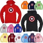 Superhero Captain America Film Light Cotton Hooded Long tshirt Hoodie Hoody Top