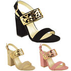 WOMENS LADIES BLOCK HIGH HEEL STRAPPY SLING BACK CUFF CHUNKY PARTY SANDALS SIZE