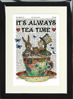 Alice in Wonderland Tea Party Original Dictionary Page Art Print  Mad Hatter