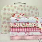 Pretty cream floral box with polycotton fat quarter bundle & metre floral ribbon