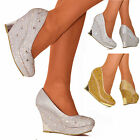 Ladies Gold or Silver Wedge Pearls Jewels Pumps Platform Heels Evening Shoe Size