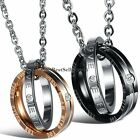His and Hers Interlocking ETERNAL LOVE Promise Ring Couple Pendant Necklace+Bag