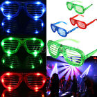 Flashing Blinking LED Light Up Slotted Shutter Shades Glow Glasses Club Party