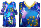 GORGEOUS WOODEN BEAD EMBELLISHED CHIFFON FLORAL KAFTAN TOP SIZE 12/14 16/18 NEW