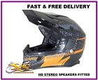 Viper RS-X99 Orange Pulse Adrenalin Motocross Helmet (HD STEREO SPEAKERS FITTED)