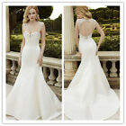 New Mermaid Backless Wedding Dress Bridal Gown Custom Size 4 6 8 10 12 14 16 18+