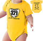 MOTOCROSS BABY NUMBER PLATE ONE PIECE SHIRT INFANT MX JUST RIDE SUZUKI RM YELLOW