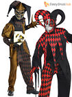 Deluxe Mens Evil Jester Joker Clown Fancy Dress Costume Halloween Adult Horror