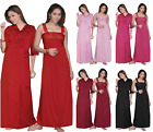 LADIES SATIN LACE LONG NIGHTDRESS NIGHTY CHEMISE EMBROIDERY 2PC SET SIZE 8-14