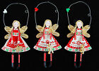 Three Scandi Christmas Nordic Fairies / Angels with Hanging Loop and Dangly Legs