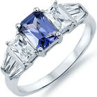 925 Sterling Silver 3 Stone Tanzanite Clear CZ Engagement Wedding Ring Size 3-11