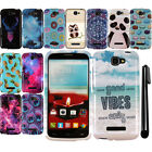 For Alcatel One Touch Fierce 2 7040T Snap On PATTERN HARD Case Phone Cover + Pen