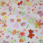 per metre/ FQ doodle orange & yellow  polycotton fabric dressmaking/craft