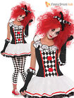 Harlequin Jester Clown Circus Costume Halloween Medieval Ladies Fancy Dress