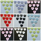 HEART SHAPED BUTTONS - TWO HOLE 9 COLOURS  TO CHOOSE  FROM