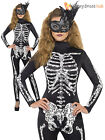 Ladies Sexy Skeleton Catsuit Jumpsuit Fancy Dress Adult Halloween Womens Costume