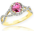 Gold Pink Topaz  Birthstone Infinity Ring with Diamonds E...