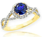 Gold Blue Sapphire Birthstone Infinity Ring with Diamonds...