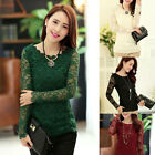 New Hot Fashion Women's Lace Long Sleeve Slim T-shirt,Casual Blouse Tops