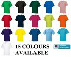 NEW KIDS GIRL BOY RUSSELL CHILDREN 15 COLOURS PLAIN LIGHTWEIGHT TSHIRT AGE 1-12