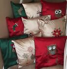 """Christmas Embroidered Piped Cushion Covers in lots of  designs,18""""x18"""",Beautiful"""