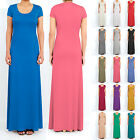 Womens Ladies Cap Sleeve Full Length Maxi Dress / Fitted Long Bodycon Maxi Dress