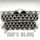 Gunmetal Iced Out GRILLZ Checkered CZ Bling Tooth Mouth Teeth Cap HipHop Grills