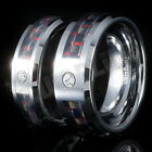 6MM 8MM Black and Red Carbon Fiber Inlay CZ Tungsten Carbide Mens Band Ring
