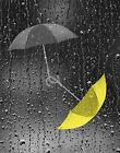 Yellow & Gray Home Decor/Decorative Umbrellas Bathroom Matted Wall Art Picture