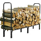 2 Style Outdoor Heavy Duty Steel Firewood Log Rack Wood Storage Holder Cover
