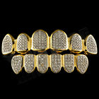 18K Gold Plated CZ Micro Pave Top Bottom CUSTOM GRILLZ SET Rhodium Teeth Grills